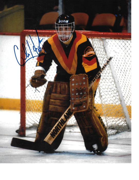 Glen Hanlon Autographed 8X10 Vancouver Canucks Home Jersey (In Position) - Pastime Sports & Games