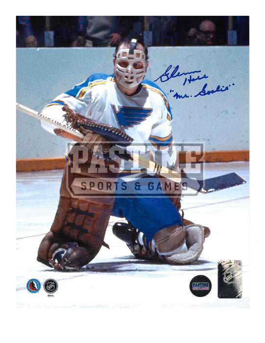 Glenn Hall Autographed 8X10 St Louis Blues Away Jersey (On One Knee) - Pastime Sports & Games