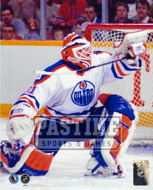 Grant Fuhr 8X10 Oilers Away Jersey Hockey (Raising Stick) - Pastime Sports & Games