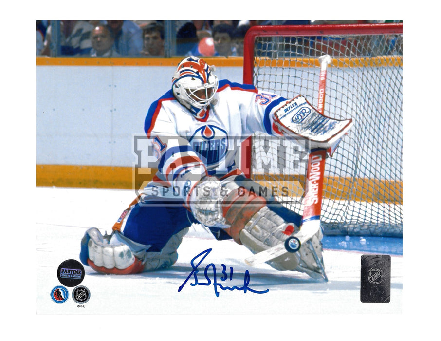 Grant Fuhr Autographed 8X10 Edmonton Oilers Away Jersey (Stopping Puck) - Pastime Sports & Games