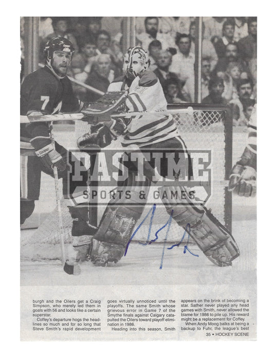 Grant Fuhr Autographed 8X10 Magazine Page Edmonton Oilers Away Jersey (Black and White) - Pastime Sports & Games