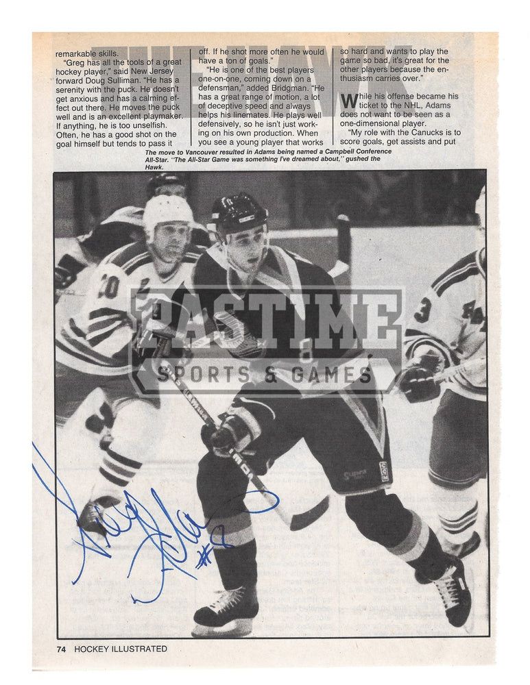 Greg Adams Autographed Newspaper 8X10 Vancouver Canucks Home Skate Jersey (The Hawk) - Pastime Sports & Games