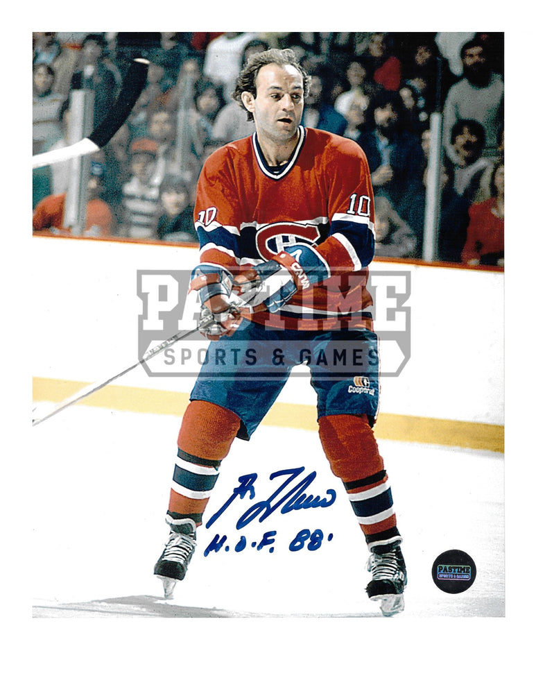 Guy Lafleur Autographed 8X10 Montreal Canadians Home Jersey (In Position) - Pastime Sports & Games