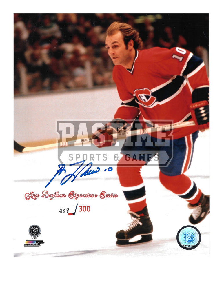 Guy Lafleur Autographed 8X10 Montreal Canadians Home Jersey (Signature Series # out of 300 Skating) - Pastime Sports & Games