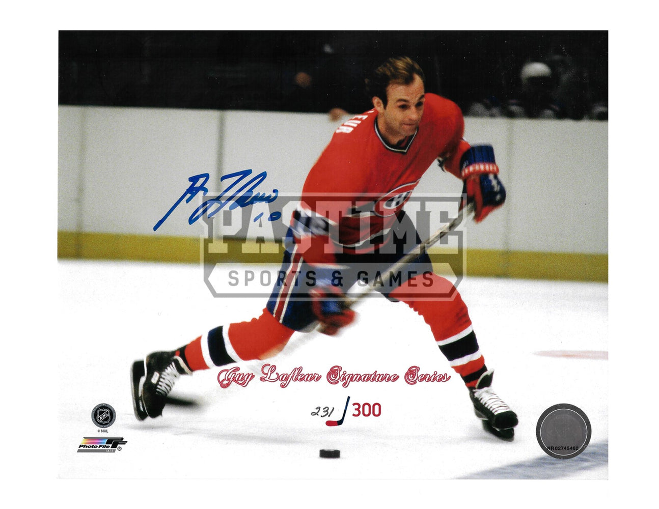 Guy Lafleur Autographed 8X10 Montreal Canadians Home Jersey (Signature Series # out of 300) - Pastime Sports & Games