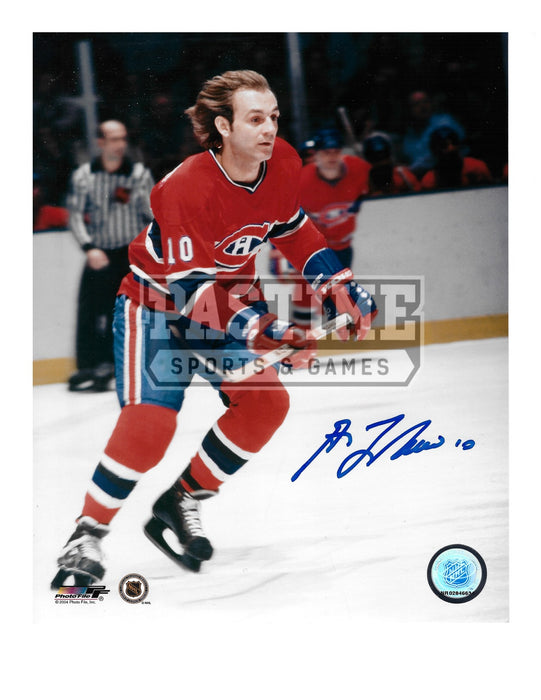 Guy Lafleur Autographed 8X10 Montreal Canadians Home Jersey (Skating Ref in Background) - Pastime Sports & Games
