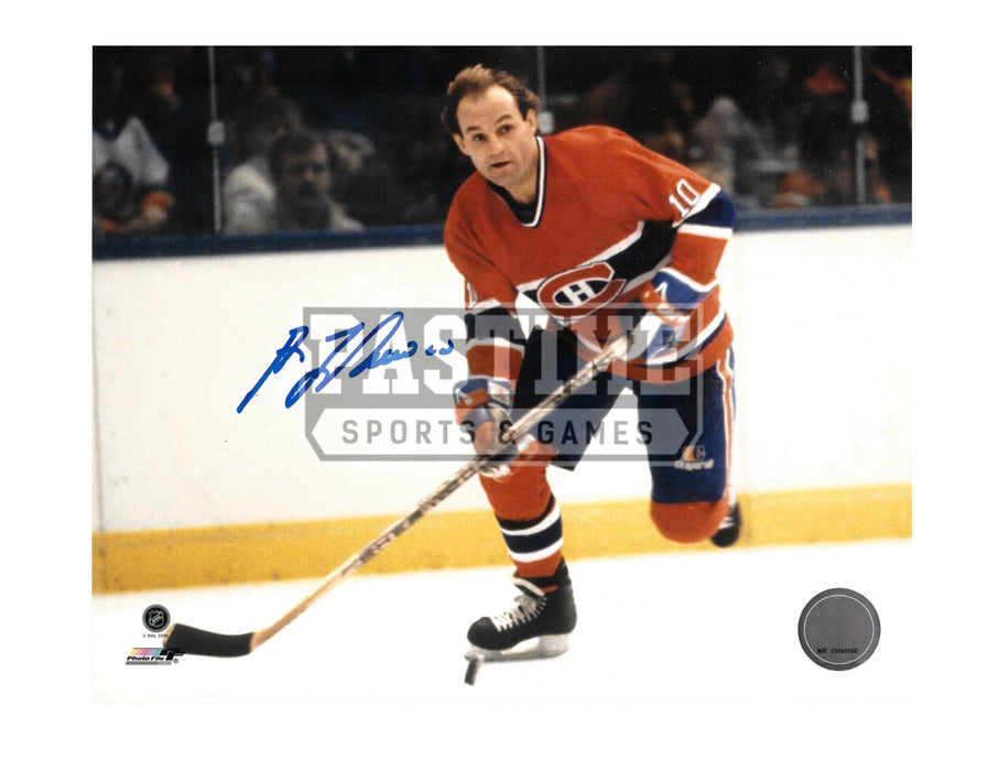 Guy Lafleur Autographed 8X10 Montreal Canadians Home Jersey (Skating With Puck) - Pastime Sports & Games