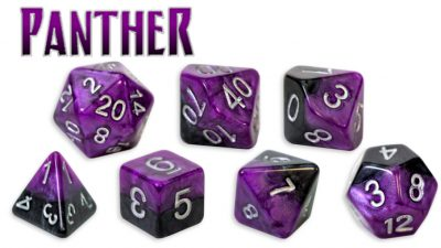 Gate Keeper Games 7pc RPG Dice Set Halfsies Panther - Pastime Sports & Games