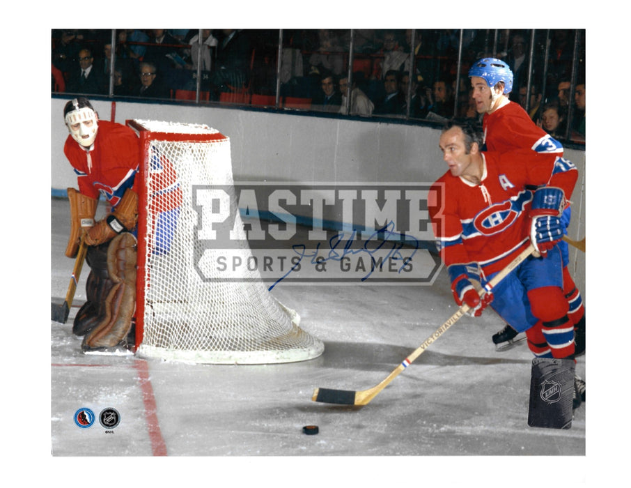 Henri Richard Autographed 8X10 Montreal Canadians Home Jersey (Behind Net) - Pastime Sports & Games