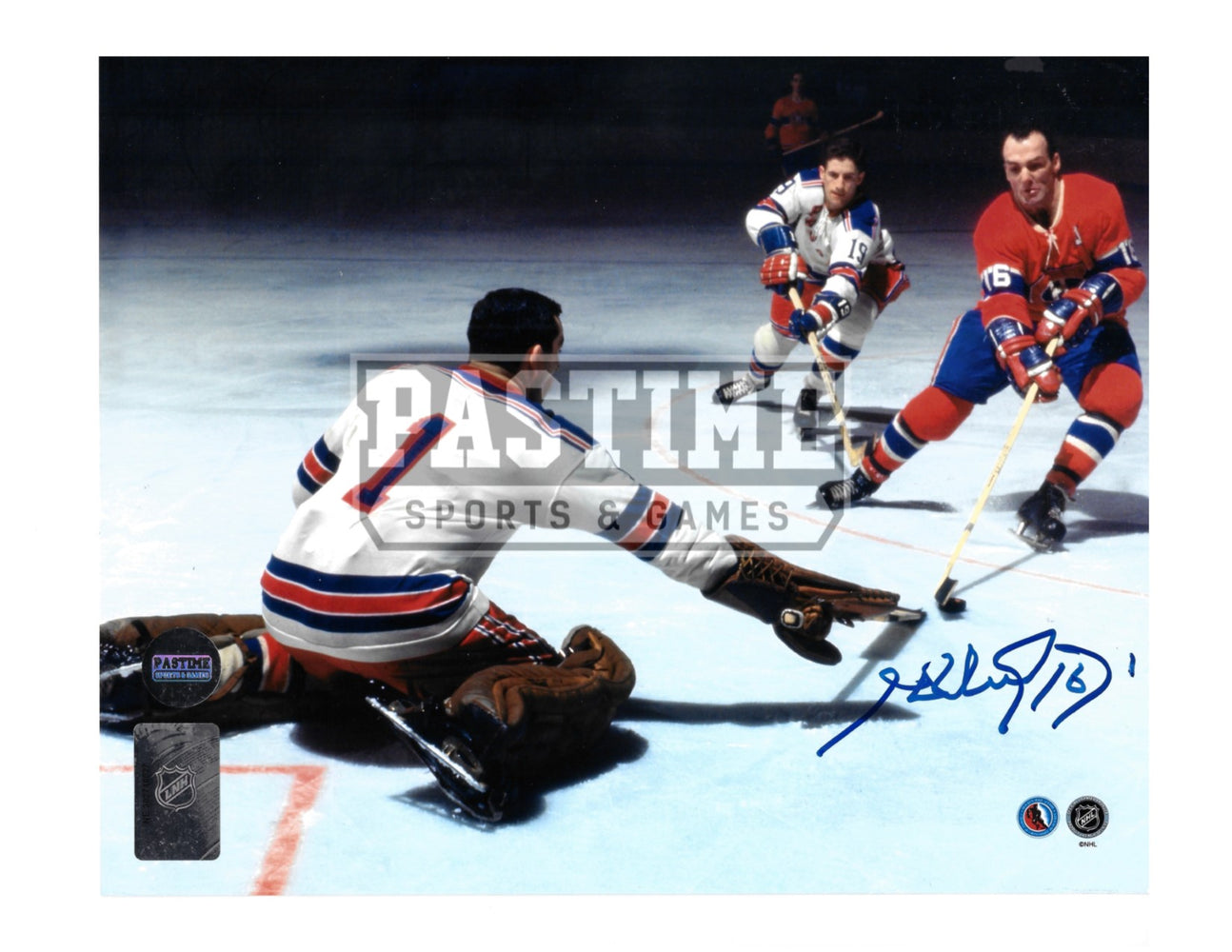 Henri Richard Autographed 8X10 Montreal Canadians Home Jersey (Shooting)