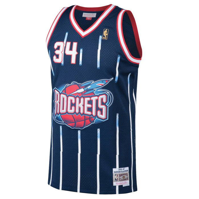 1996/97 Hakeem Olajuwon Houston Rockets Home Basketball Jersey (Navy Mitchell & Ness) - Pastime Sports & Games