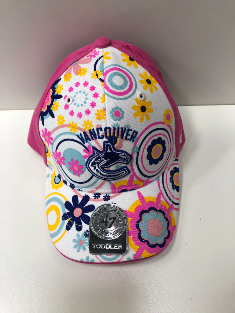 NHL Vancouver Canucks Pink Flower Hat Orca Logo Toddler - Pastime Sports & Games