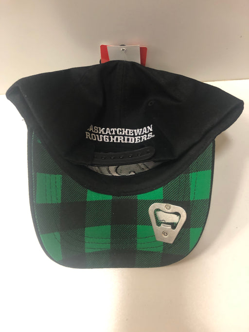 Saskatchewan Roughriders Hat With Plaid & Bottle Opener - Pastime Sports & Games