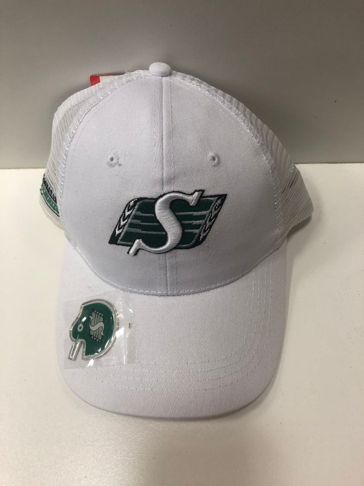 CFL Saskatchewan Roughrider White Hat Mesh Back And Bottle Opener - Pastime Sports & Games