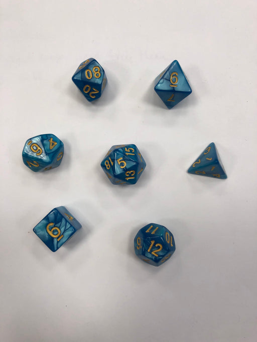 Pastime 7 Polyhedral RPG Dice Set: Aquamarine Marbled W/ Gold - Pastime Sports & Games