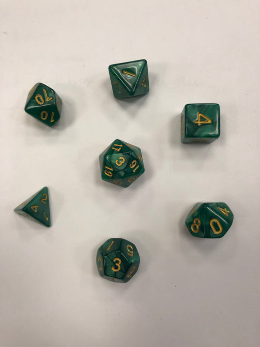 Pastime 7 Polyhedral RPG Dice Set: Dark Green Marbled W/ Gold - Pastime Sports & Games