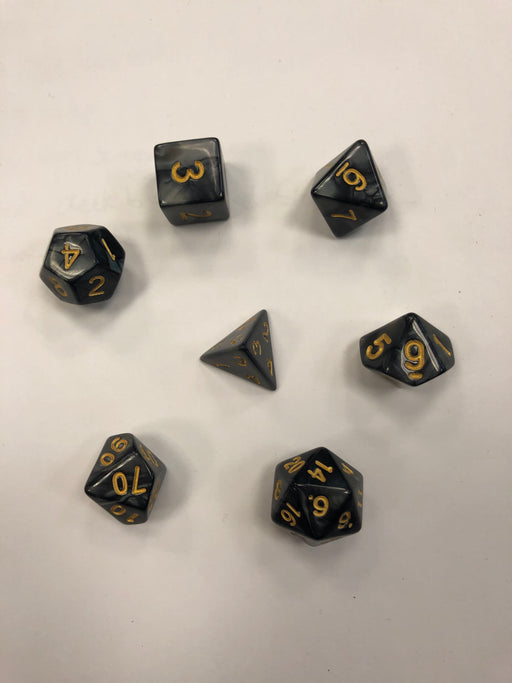 Pastime 7 Polyhedral RPG Dice Set: Black Marbled W/ Gold - Pastime Sports & Games