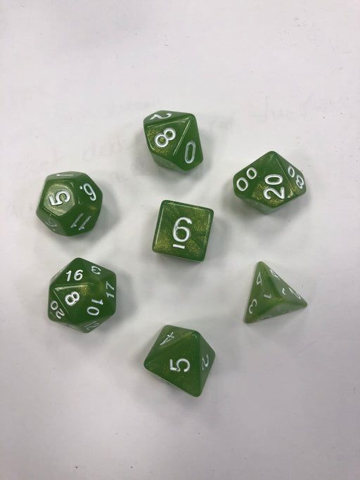 Pastime 7 Polyhedral RPG Dice Set: Sparkly Olive Green W/ White - Pastime Sports & Games