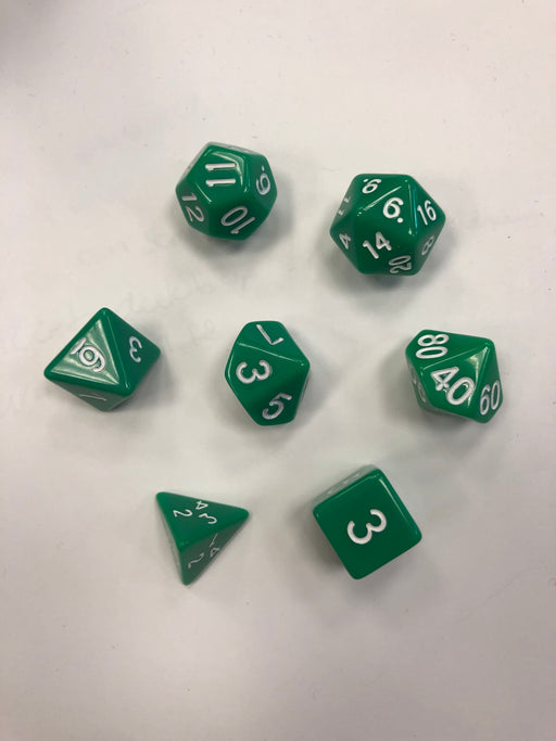 Pastime 7 Polyhedral RPG Dice Set: Green W/ White - Pastime Sports & Games