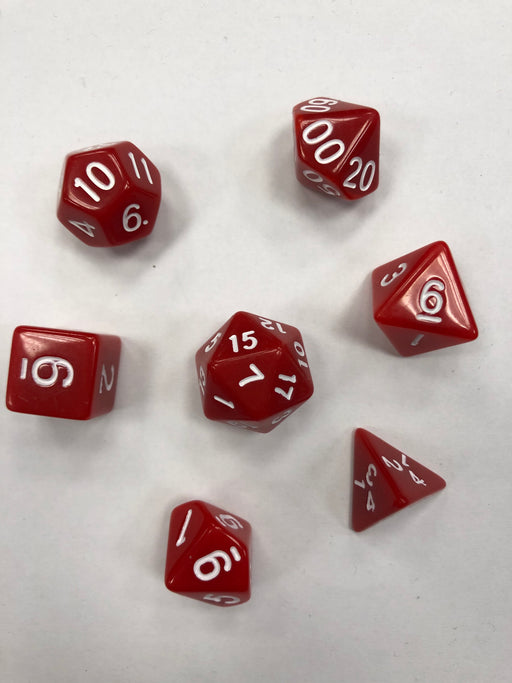 Pastime 7 Polyhedral RPG Dice Set: Red W/ White - Pastime Sports & Games