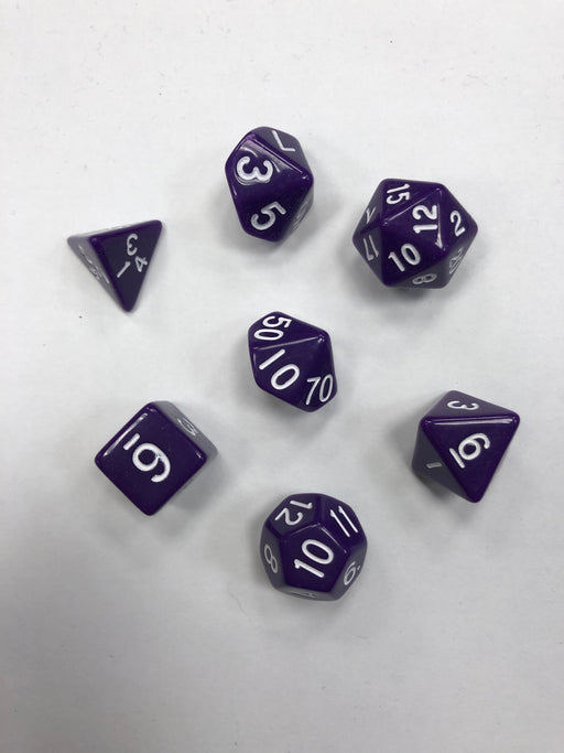 Pastime 7 Polyhedral RPG Dice Set: Purple W/ White - Pastime Sports & Games