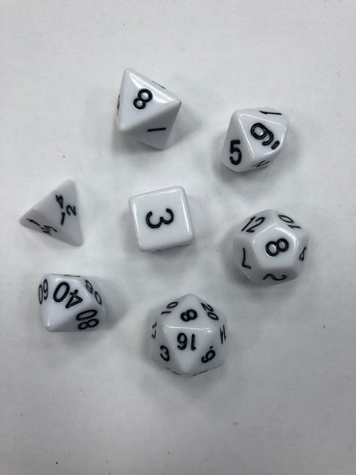 Pastime 7 Polyhedral RPG Dice Set: White W/ Black - Pastime Sports & Games