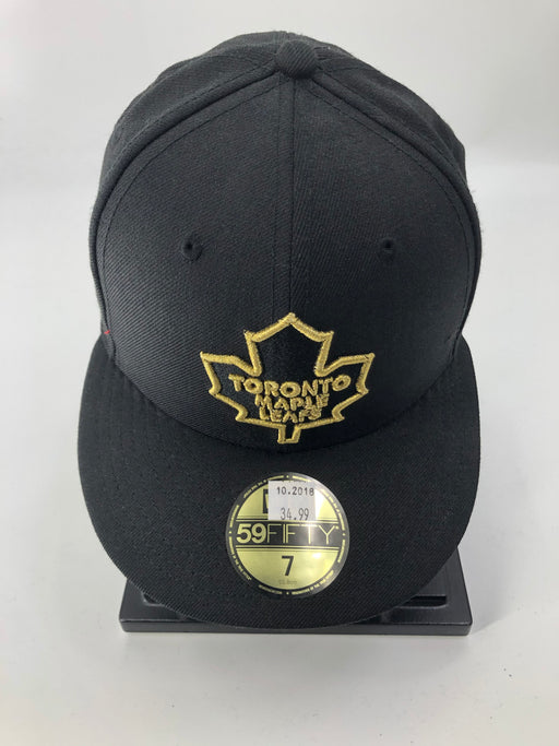 NHL Maple Leafs Black Flat Brim Hat Gold Logo - Pastime Sports & Games