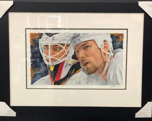Kirk Mclean, Trevor Linden & Glen Green Autographed Framed Original Watercolour Painting - Pastime Sports & Games