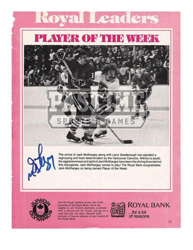 Jack Mcilhargey Autographed Magazine Page Vancouver Canucks Away Jersey (Royal Leader) - Pastime Sports & Games