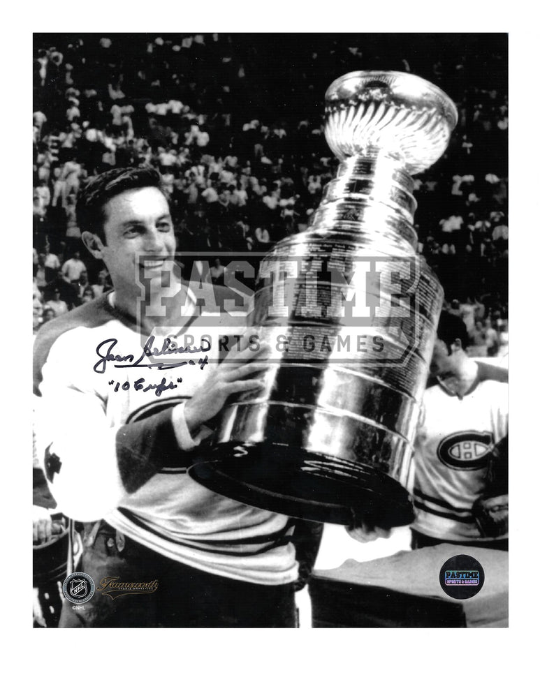 Jean Beliveau Autographed 8X10 Montreal Canadians Away Jersey (Black and White Holding Cup) - Pastime Sports & Games