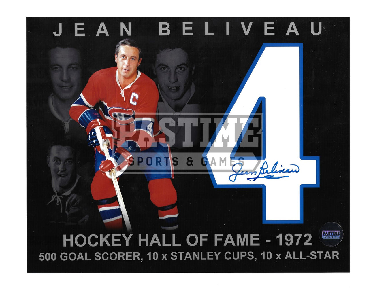 Jean Beliveau Autographed 8X10 Montreal Canadians Home Jersey (Hockey Hall Of Fame) - Pastime Sports & Games