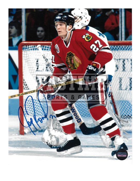 Jeremy Roenick Autographed 8X10 Chicago Blackhawks Home Jersey (Infront of Net) - Pastime Sports & Games