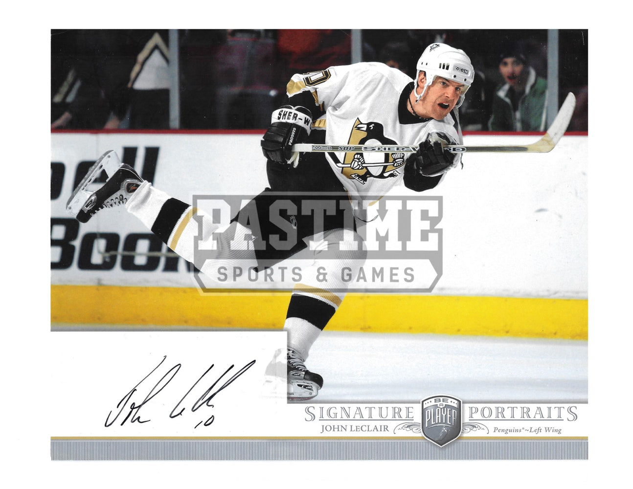 John Leclair Autographed 8X10 Pittsburgh Penguins Away Jersey (Signature Portraits) - Pastime Sports & Games