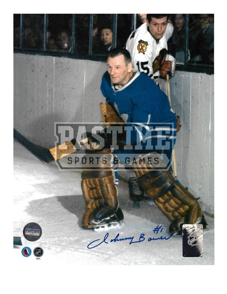 Johnny Bower Autographed 8X10 Toronto Maple Leafs Home Jersey (By Boards Without Mask) - Pastime Sports & Games