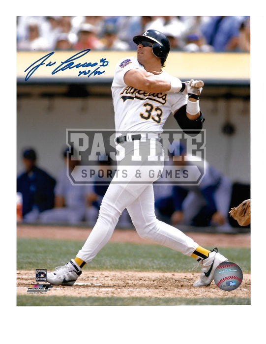 Jose Canseco Autographed 8X10 Oakland A's (Swinging Bat with Glasses On) - Pastime Sports & Games