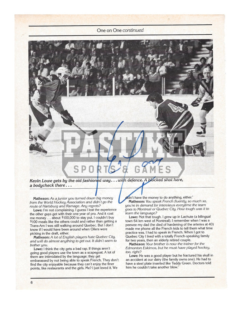 Kevin Lowe Autographed 8X10 Magazine Page Home Jersey (Blocking Shot) - Pastime Sports & Games