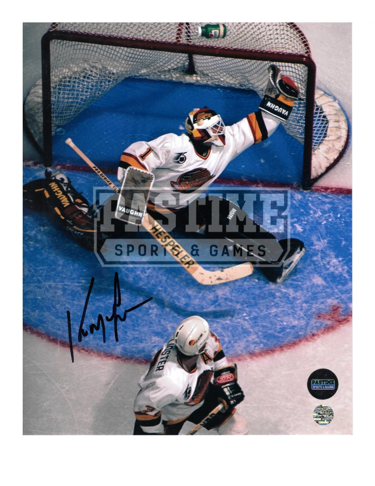 Kirk Mclean Autographed 8X10 Vancouver Canucks 94 Away Jersey (Catching The Puck) - Pastime Sports & Games