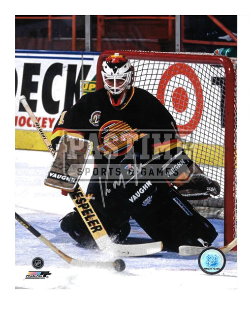 Kirk Mclean Autographed 8X10 Vancouver Canucks 94 Home Jersey (Saving The Shot Horizontal) - Pastime Sports & Games