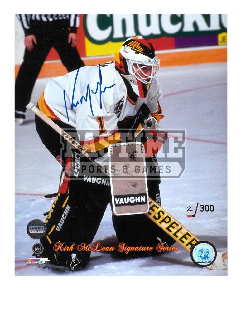 Kirk Mclean Autographed 8X10 Vancouver Canucks 94 Away Jersey (Signature Series Numbered out of 300) - Pastime Sports & Games