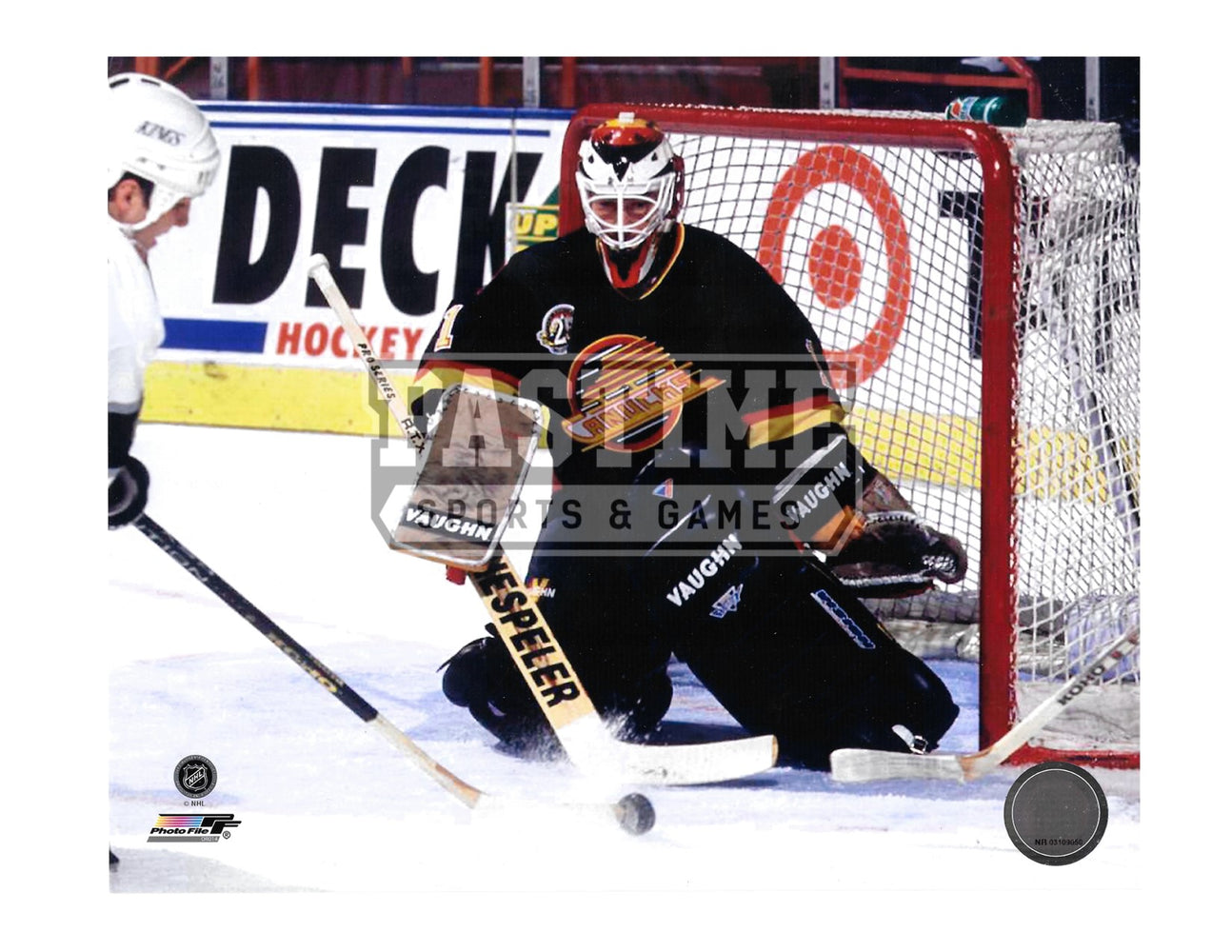 Kirk Mclean 8X10 Vancouver Canucks 94 Home Jersey (Saving Shot) - Pastime Sports & Games