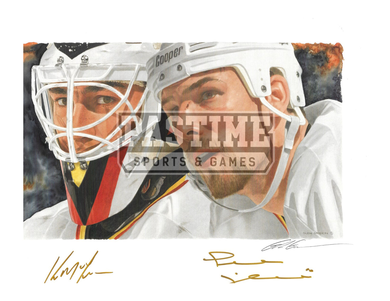 Kirk Mclean, Trevor Linden & Glen Green Autographed 8X10 Vancouver Canucks Away 94 Jersey (Copy Of Painted Print Painted By Glen Green) - Pastime Sports & Games