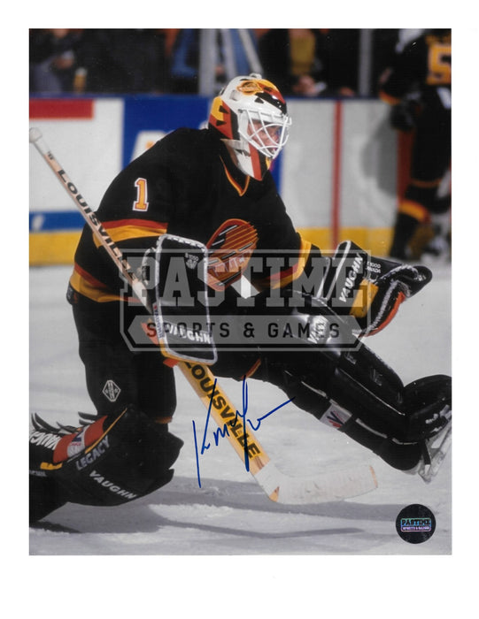 Kirk Mclean Autographd 8X10 Vancouver Canucks 94 Home Jersey (Leg Up) - Pastime Sports & Games