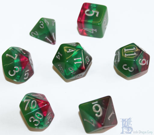 Little Dragon Corp 7pc RPG Dice Set Birthday Dice October Tourmaline - Pastime Sports & Games