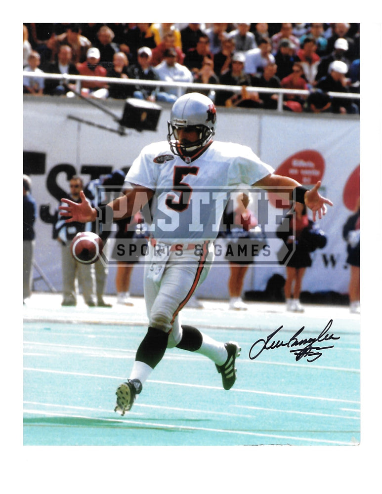 Lui Passaglia Autographed 8X10 B.C Lions Away Jersey (Kicking Ball) - Pastime Sports & Games