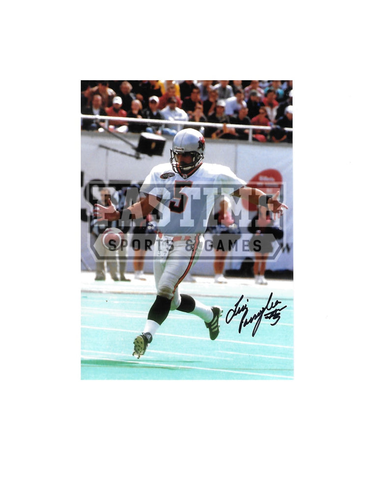 Lui Passaglia Autographed 7X5 B.C Lions Away Jersey (Kicking Ball) - Pastime Sports & Games
