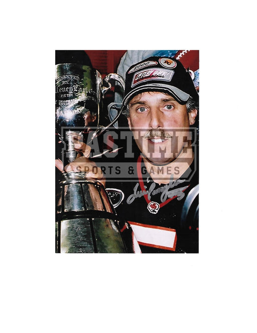 Lui Passaglia Autographed 7X5 B.C Lions Home Jersey (Posing With Cup) - Pastime Sports & Games