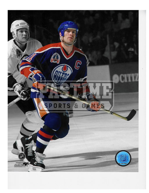 Mark Messier 8X10 Edmonton Oilers Home Jersey (Skating With Bruins Player Behind) - Pastime Sports & Games