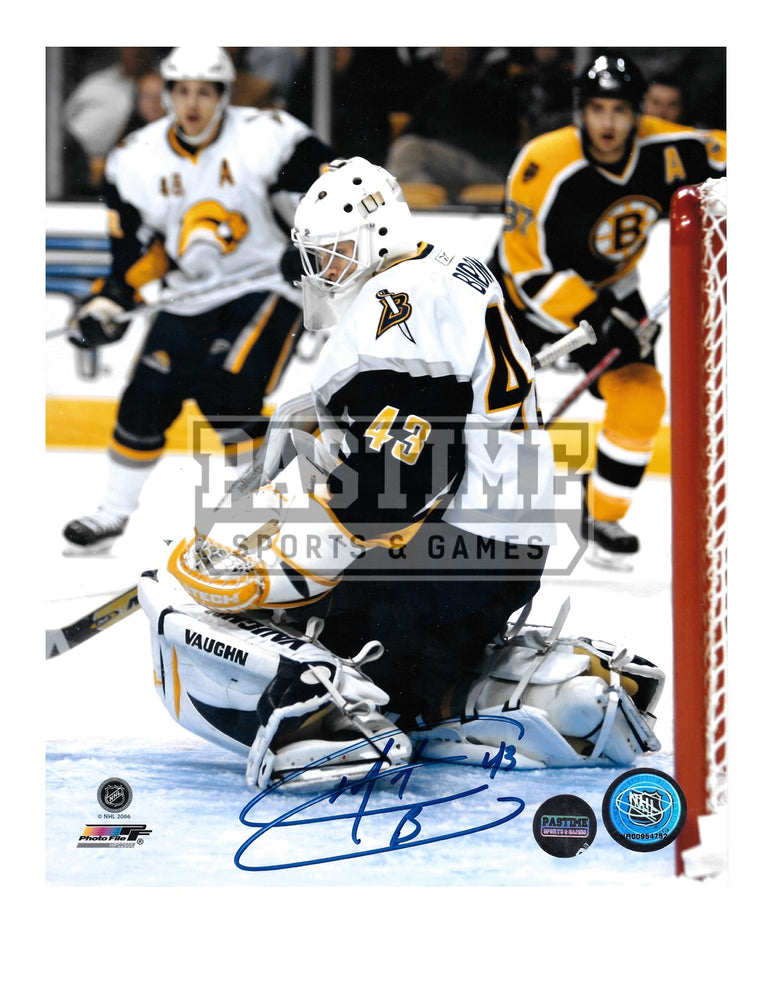Martin Biron Autographed 8X10 Buffalo Sabres Away Jersey (Saving Shot) - Pastime Sports & Games