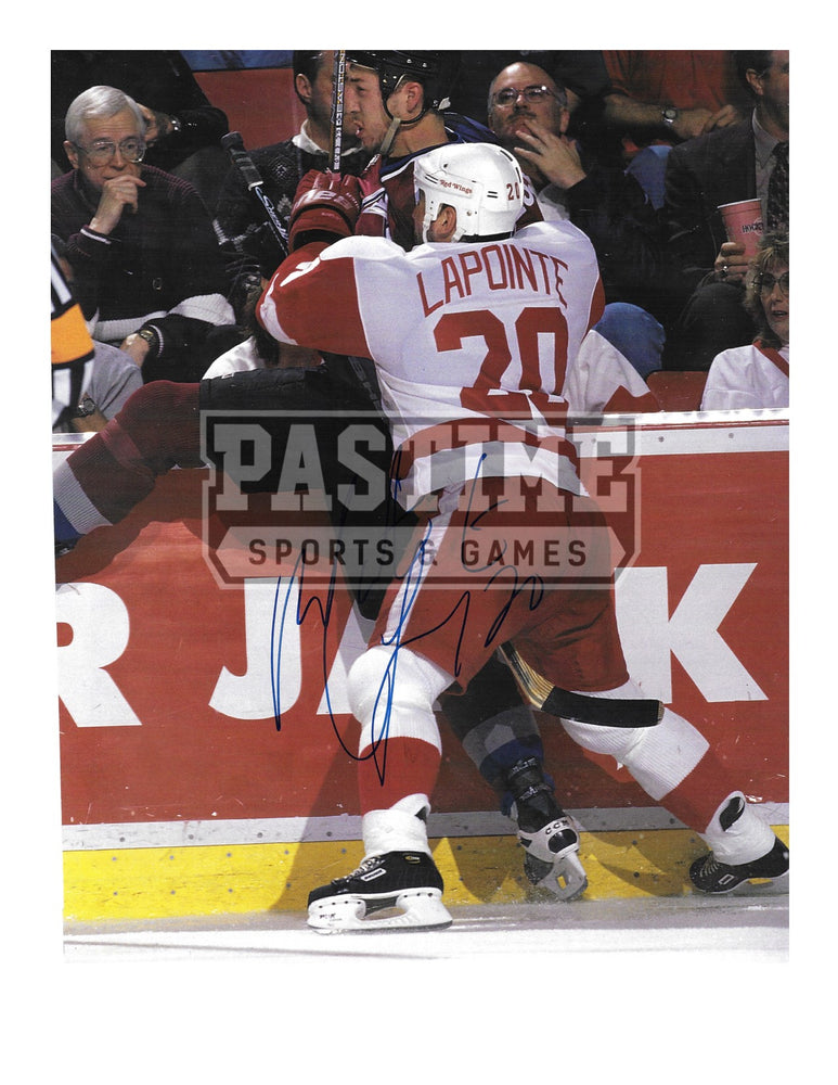 Martin Lapointe Autographed Magazine Page Detroit Red wings Away Jersey (Body Check) - Pastime Sports & Games