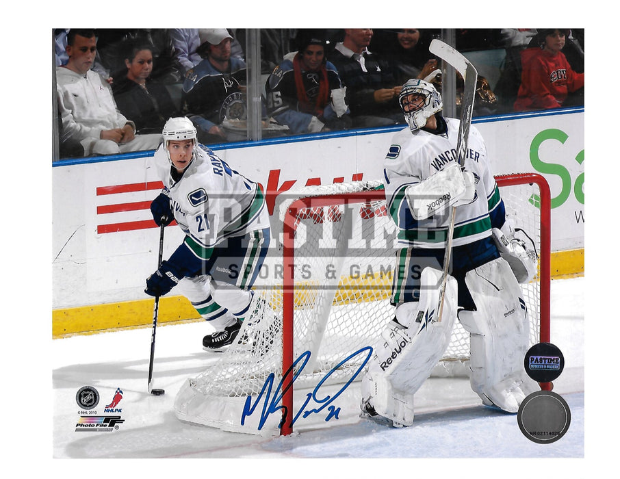 Mason Raymond Autographed 8X10 Vancouver Canucks Away Jersey (Behind Net) - Pastime Sports & Games